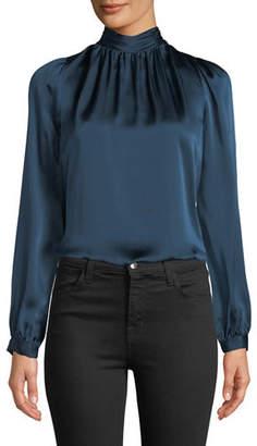 Veronica Beard Chilton Shirred Silk Organza High-Neck Top