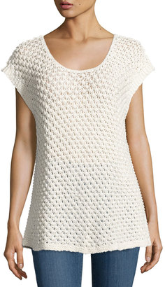 Bobeau Open-Weave Cap-Sleeve Sweater, Beige $55 thestylecure.com