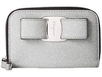 Salvatore Ferragamo Glitter Zip Around Coin Purse