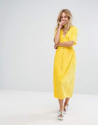 Monki Velvet Pleated Drawstring Midi Skirt