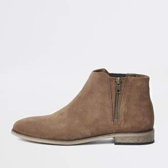 River Island Brown suede zip chelsea boots