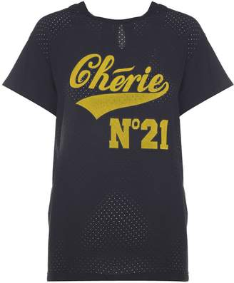 N°21 N.21 Chérie print Cotton-jersey And Crepe T-shirt