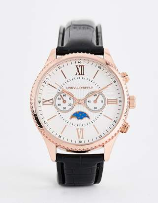 Asos DESIGN watch in black and rose gold with sub dials and roman numerals