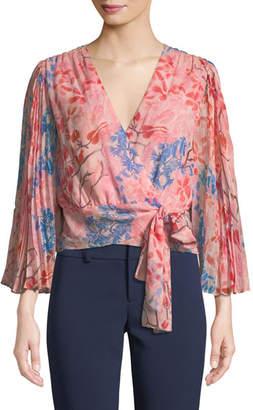 Alice + Olivia Bray Pleated-Sleeve Floral-Print Silk Wrap Blouse