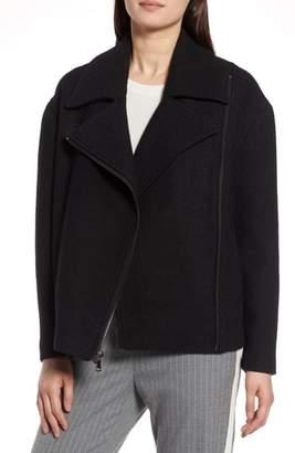 Halogen Boiled Wool Blend Moto Jacket