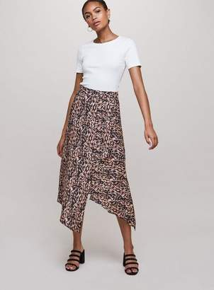 Miss Selfridge Leopard print asymmetric midi skirt