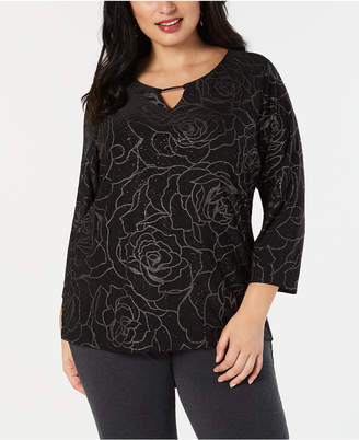 JM Collection Plus Size Glitter Jacquard Top, Created for Macy's