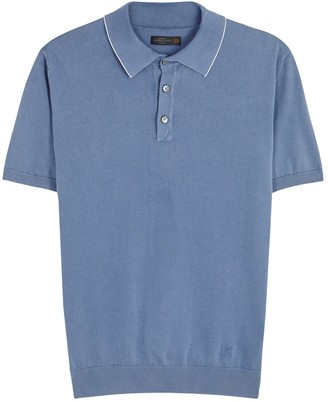 Blue Fine-knit Cotton Polo Shirt