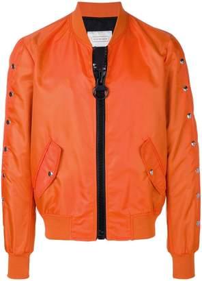 Route Des Garden snap sleeve bomber jacket