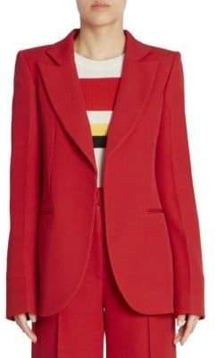 Victoria Beckham Wool Open Front Tailored Blazer