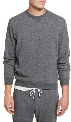 Brunello Cucinelli Cotton-Blend Jersey Crewneck Sweatshirt, Dark Gray $675 thestylecure.com