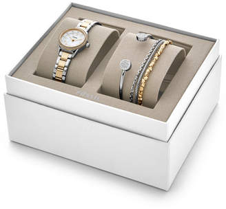 Fossil Blythe Three-Hand Two-Tone Stainless Steel Watch and Jewelry Gift Set