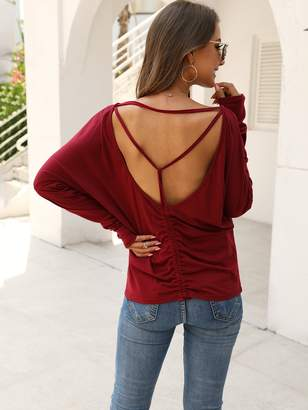 Shein Drop Shoulder Ruched Backless Tee