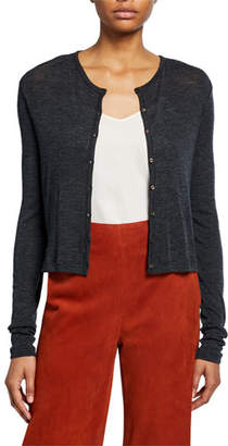 Vince Wool Long-Sleeve Button-Front Cardigan