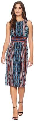 Maggy London Painted Ikat Sleeveless Jersey Sheath Women's Dress