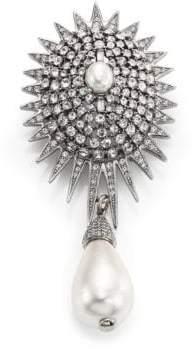 Oscar de la Renta Bridal Star Crystal& Faux Pearl Brooch