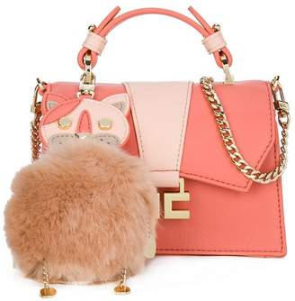 Elisabetta Franchi La Mia Bambina fluffy cat charm bag