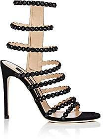 Sergio Rossi Women's Crystal-Embellished Suede Multi-Strap Sandals-Black