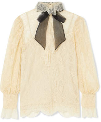 Gucci Pussy-bow Lace Blouse - Ivory
