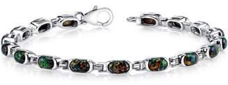 Black Opal Oravo Created Tennis Bracelet Sterling Silver Oval Cut 4.75 Carats