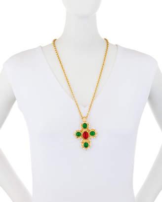Kenneth Jay Lane Multi-Stone Cross Pendant Necklace