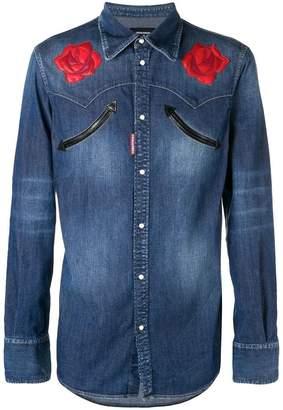 DSQUARED2 flower denim shirt