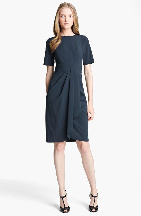 Armani Collezioni Drape Front Crepe Dress