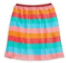 Gucci Little Girl's& Girl's Pleated Metallic Stripe Skirt