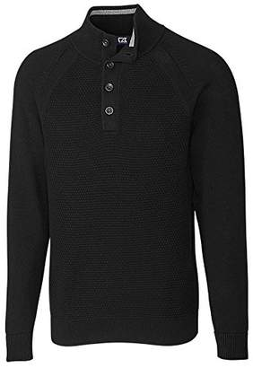 Cutter & Buck Men's Textured Cotton-Rich Classic Button Mock Neck Reuben Sweater