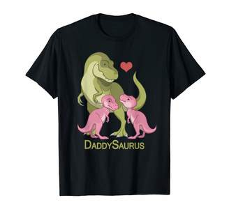 Cute Dinosaur Art By Csforest Mens DaddySaurus T-Rex Father & Twin Baby Girl Dinosaurs T-Shirt