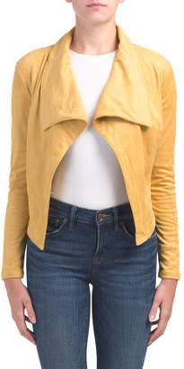 Juniors Faux Suede Drape Jacket