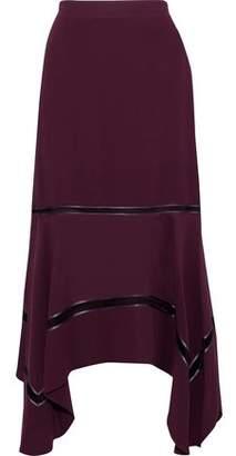 Derek Lam Open-Knit And Satin-Trimmed Silk Crepe De Chine Skirt