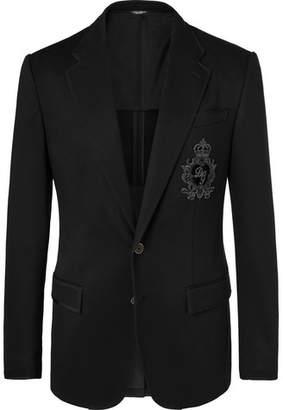 Dolce & Gabbana Black Slim-Fit Embellished Satin-Jersey Blazer - Men - Black