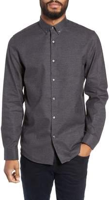 Calibrate Slim Fit Mini Collar Melange Sport Shirt