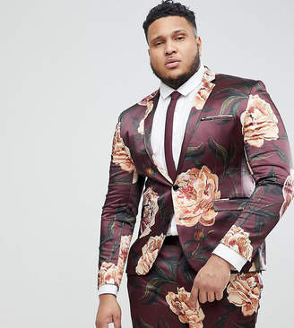 Asos Design PLUS Super Skinny Suit Jacket In Burgundy Floral Print