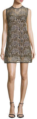 Milly Sleeveless Jewel-Neck Sequined Tulle Shift Dress, Gold