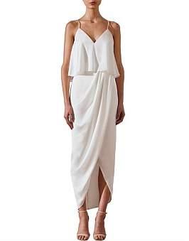 Shona Joy Draped Cocktail Frill Dress Ivory
