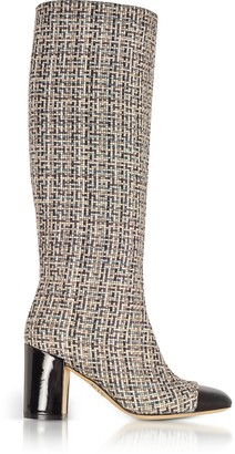 Rodo Tweed and Black Patent Leather Heel Boots