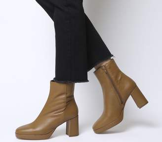 Office Aquarius Low Platform Boots Tan Leather