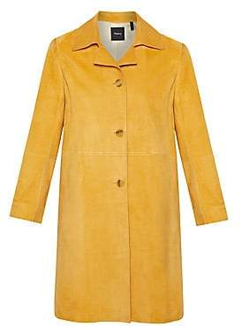 Theory Women's Piazza Single-Breasted Suede Coat