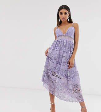 Missguided lace tiered midi dress with strappy sleeves in lilac