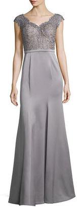 La Femme Cap-Sleeve Lace & Satin Combo Gown $498 thestylecure.com