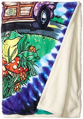 Liquid Blue Men's Hippy Road Trippin' Tie Dye Warm Coral Fleece Throw Blanket