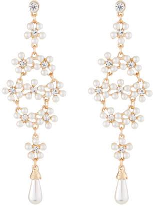 Kenneth Jay Lane Pearly Crystal Drop Earrings