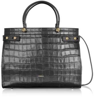 Furla Croco Embossed Leather Lady M Tote Bag