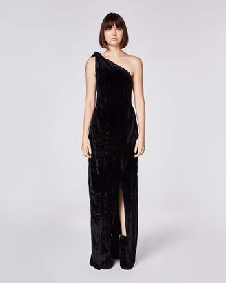 Nicole Miller Crinkled Velvet Dress With Slit