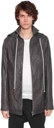 Rick Owens Leather Windbreaker W/ Cotton Hood