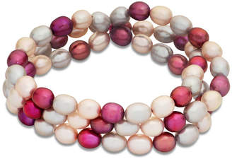 """Zales 7.0 - 7.5mm Oval Dyed Multi-Color Cultured Freshwater Pearl Three Strand Stretch Bracelet - 7.5"""""""