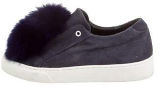 Here/Now Fur-Trim Suede Sneakers Navy Here/Now Fur-Trim Suede Sneakers