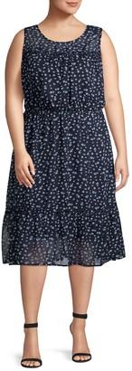 ABS by Allen Schwartz Plus Printed A-Line Dress